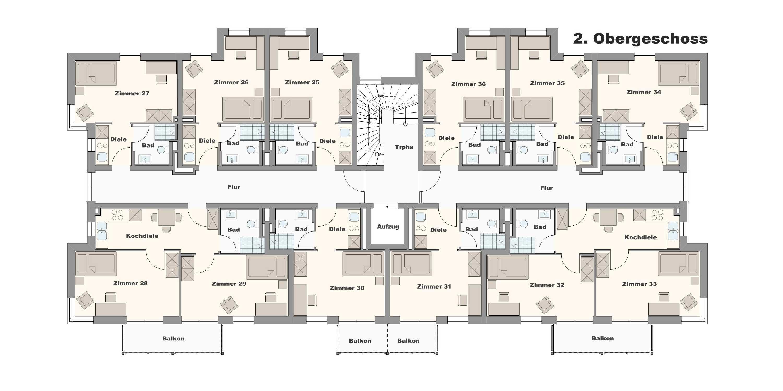 Wohnraum Studentenwohnheim Friedrichshafen 2. Obergeschoss